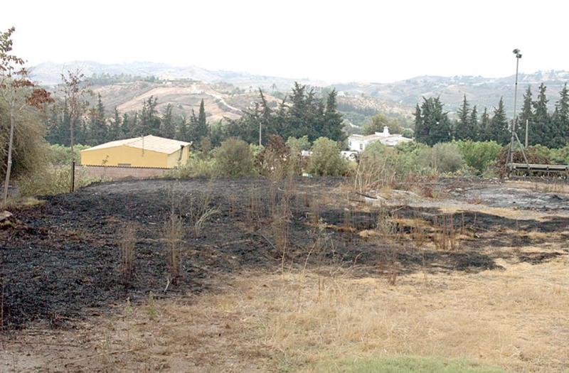 Innger Hallberg hade trots allt tur. Hennes granne fick hela tomten bränd, medan lågorna stoppade vid hörnet av hennes hus.