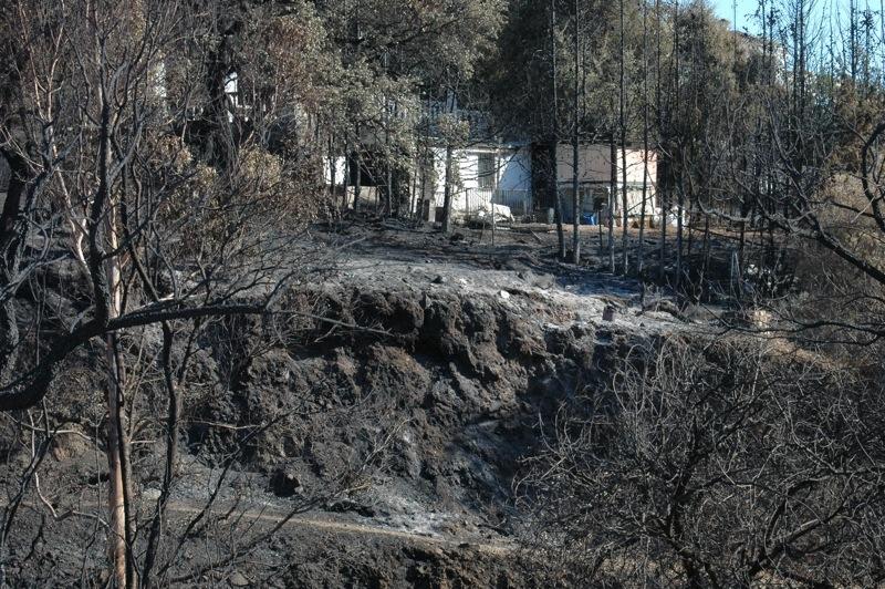 En del hus har klarat sig mirakul&ouml;st.<br /><br />---<br /><br />Algunas casas se han salvado de milagro.