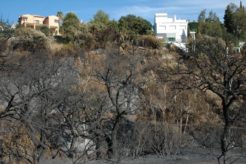Det är lätt att föreställa sig de kval som ägarna till dessa villor lidit under brandnatten.<br /><br />---<br /><br />No es dificil imaginarse la angustia de los propietarios de estas viviendas, la noche del incendio.