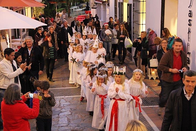Luciafirande i gamla stan i Marbella. Foto: Richard Björkman/Sydkusten