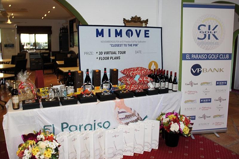 Det digra prisbordet, med både pokaler, viner, champagne, dekorationsföremål, godis, presentkort samt blommor.