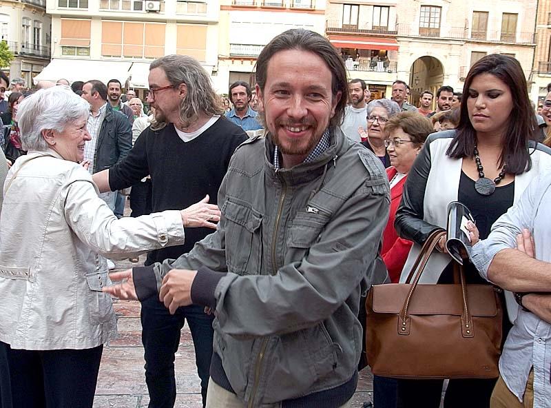 Missnöjespartiet Podemos, med Pablo Iglesias i spetsen, symboliserar de strukturella förändringarna i Spanien 2014. Foto: Cyberfrancis