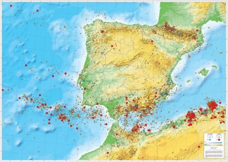 Kartan visar var det registrerats skalv med en styrka på mer än 3,0 på Richterskalan (gul cirkel), mer än 4,0 (orange cirkel) och mer än 5,0 (röd cirkel). Just norr om Alhucemas vid Mar de Alborán, finns en stor koncentration av kraftiga jordskalv.Foto: Foto: Instituto Geográfico Nacional
