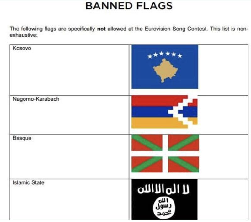 Den grundlagsenliga baskiska flaggan likställs med den tillhörande Daesh och ligger till och med intill på listan över bannlysta fanor i Eurovision Song Contest.