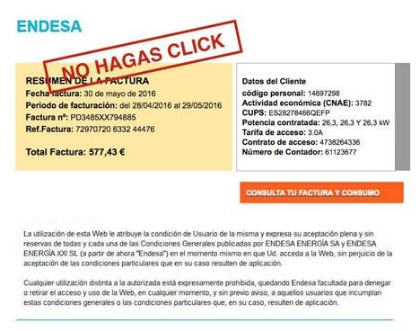 Den falska elräkningen har för avsikt att skrämma mottagaren att klicka på en länk som leder till en falsk hemsida där man lämnar ut hemliga uppgifter. Bild: Guardia Civil