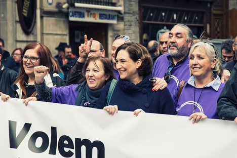 Barcelonas borgmästare Ada Colau i spetsen av tåget. Foto: Ajuntament Barcelona/Flickr