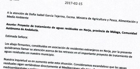 AHN Nerjas skrivelse till miljöministern Isabel García Tejerina är daterad 15 februari.