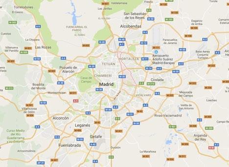 Den nu dömda 44-åringen kidnappade sina offer i Ciudad Lineal och andra förorter nordöst om Madrid. Foto: Google Maps