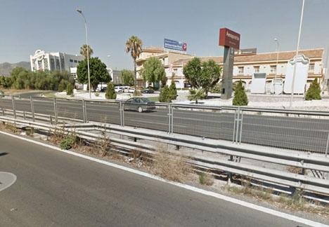 Olyckan inträffade vid infarten till Málaga flygplats. Foto: Google Maps