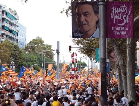 Även om skillnaden fortsatt är liten ökar antalet katalaner som är emot en utbrytning ur Spanien. Foto: Sarah Olsson