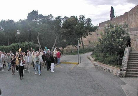 Många turister besöker fästningen Gibralfaro, i Málaga.