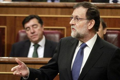 Rajoy kallas i egenskap av ordförande för Partido Popular.