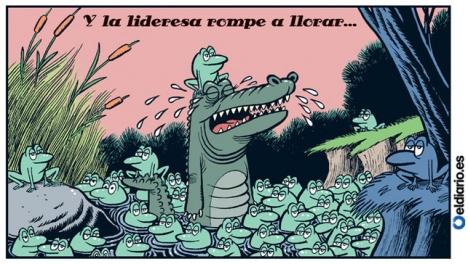 Karikatyr i tidningen El Diario.es med Esperanza Aguirre som gråter krokodiltårar, omgärdad av grodor.