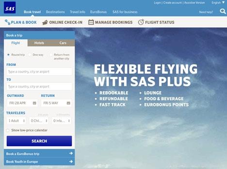 SAS hemsida i Spanien är anmärkningsvärt nog bara på engelska.