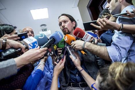 Ledaren för Podemos Pablo Iglesias har än en gång lyckats rikta all uppmärksamhet mot sig. Foto: Podemos