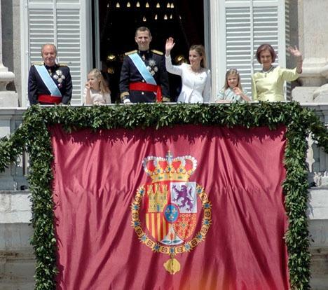 Min bild av kungafamiljen på balkongen i Palacio Real, när Felipe kröntes 19 juni 2014.