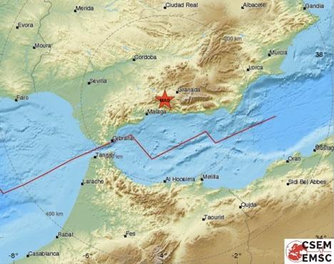 Skalvet hade sitt centrum nära Alhama de Granada. Foto: EMSC