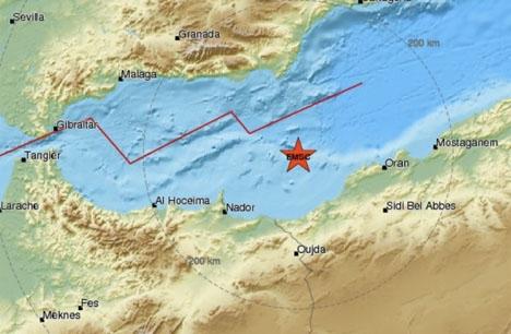Skalvet inträffade i Medelhavet mellan Spanien och Algeriet. Karta: EMSC