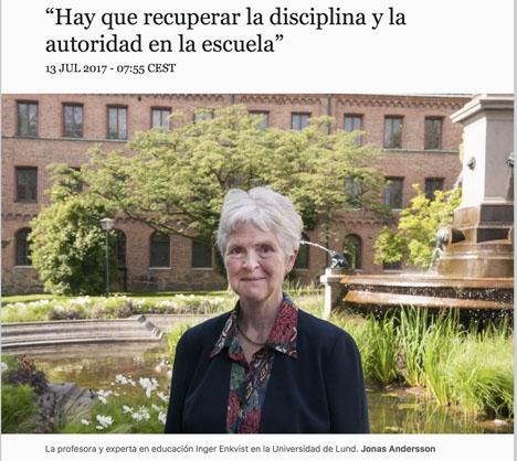 Inger Enkvist intervjuas i tidningen El País.