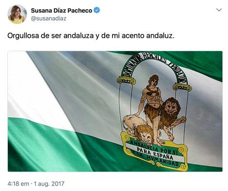 Den andalusiska regionalpresidentens svar på Twitter.