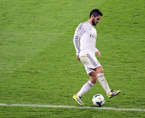 Benalmádena-spelaren Isco gjorde 2-0-målet mot Manchester United. Foto: LauraHale/Wikimedia Commons