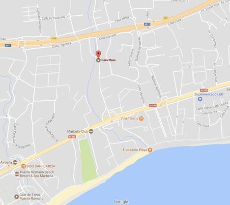 Bordellen ligger norr om Marbella Club, vid Golden Mile. Foto: Google Maps