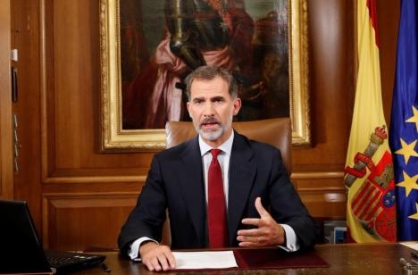 Spaniens kung Felipe VI sade 20 oktober att den katalanska självständighetsprocessen är