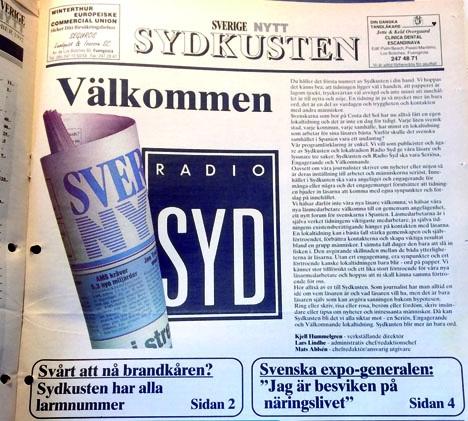Det första numret av prenumerationstidningen Sverige Nytt/Sydkusten kom ut 16 oktober 1992.