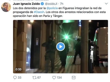 Inrikesministern Juan Ignacio Zoido bekräftar gripandena på Twitter.