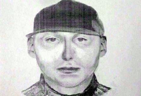 Fantombild av den misstänkte gärningsmannen, som gripits.