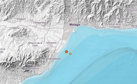 Skalven inträffade nära östra stranden i Torremolinos. Foto: Instituto Geográfico Nacional