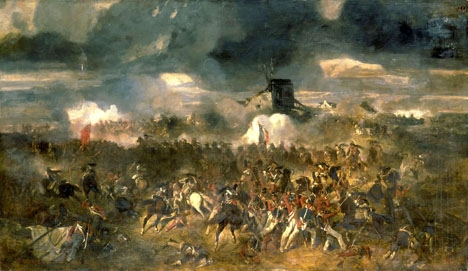 Målning av Clément-Auguste Andrieux som skildrar slaget vid Waterloo 1815, där Napoleon led sitt historiska nederlag.