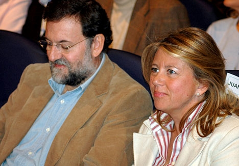 Ángeles Muñoz tillsammans med Mariano Rajoy vid ett tidigare besök i Marbella.