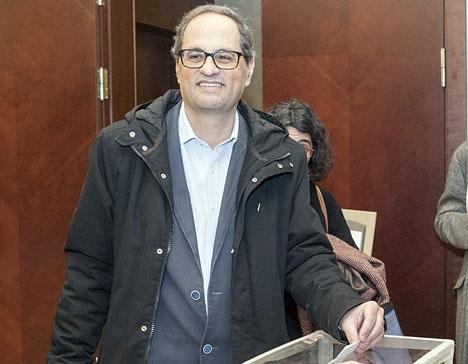 Den nye regionalpresidenten i Katalonien Quim Torra har handplockats av företrädaren Carles Puigdemont. Foto: Òmnium Cultural/Wikimedia Commons