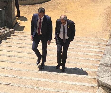 Pedro Sánchez och Quim Torra träffades 9 juli i Madrid. Foto: @sanchezcastejon/Twitter