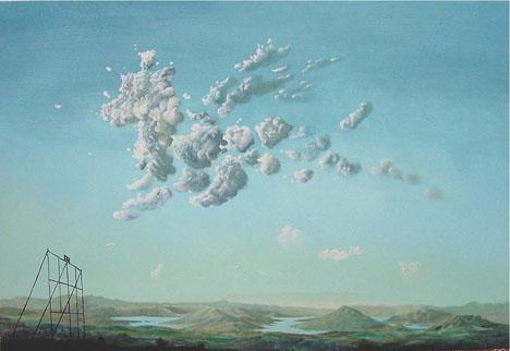 Den spanske målaren Jorge Fin förmedlar elementen vind och vatten i sina tavlor.