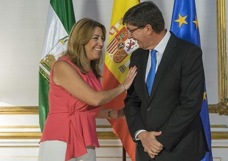 Den plötsliga osämjan mellan styrande PSOE och stödpartiet i Andalusien Ciudadanos är enligt de övriga två oppositionspartierna spelad. Foto: Junta de Andalucía