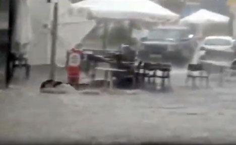 Många gator i Ronda översvämmades på torsdagseftermiddagen. Foto: Facebook