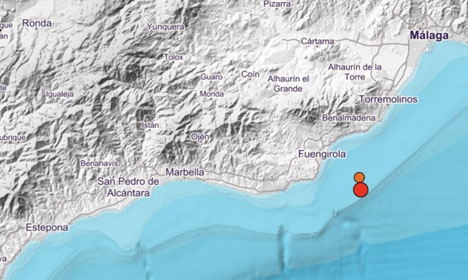 Skalven inträffade på söndagskvällen nära Fuengirola. Foto: Instituto Geográfico Nacional