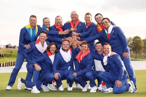 Europa tog 30 september tillbaka Ryder Cup-trofén, genom att besegra USA med 17,5 mot 10,5 poäng. Foto: Twitter/Ryder Cup Europe