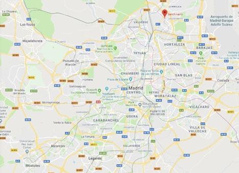Sanchinarro ligger i nordöstra Madrid, nära flygplatsen Barajas. Foto: Google Maps