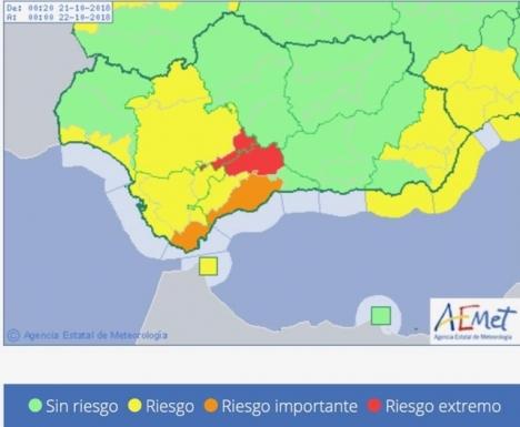 De senaste skyfallen har främst drabbat inlandet i Málagaprovinsen, men även i Estepona har det registrerats omfattande översvämningar. Foto:Aemet