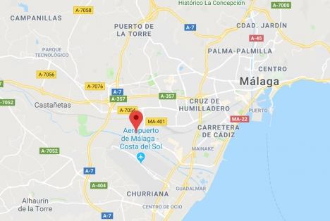 Industriområdet där beslaget gjordes ligger nära Málaga flygplats. Foto: Google Maps