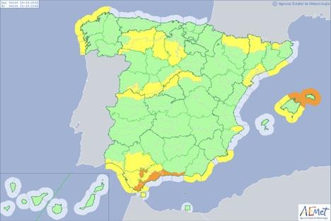 Beredskapen omfattar hela Costa del Sol och resten av kustbandet till och med Gibraltar. Bild: Aemet