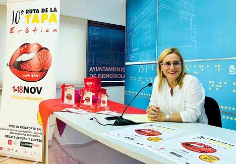 Borgmästaren Ana Mula vid presentationen av årets erotiska tapasfestival. Foto: Ayto de Fuengirola