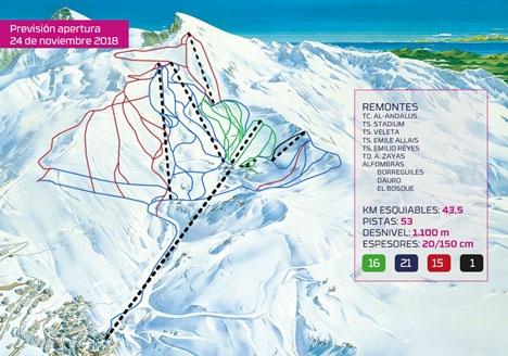Sammanlagt 43,5 kilometer uppdelat på 53 pister väntar besökarna i Sierra Nevada från och med 24 november.