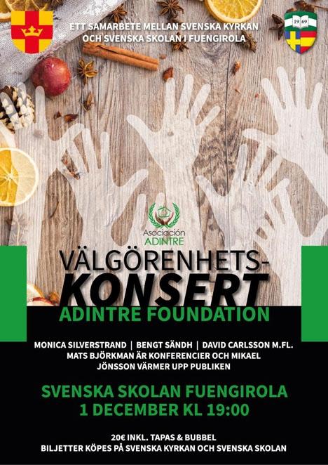 Välgörenhetskonserten hålls lördag 1 december i Svenska skolan i Fuengirola.