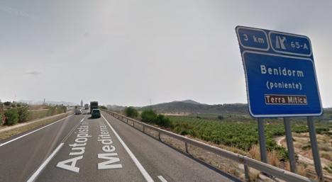 Betalmotorvägen AP7 i höjd med Benidorm (Alicante). Foto: Google Maps