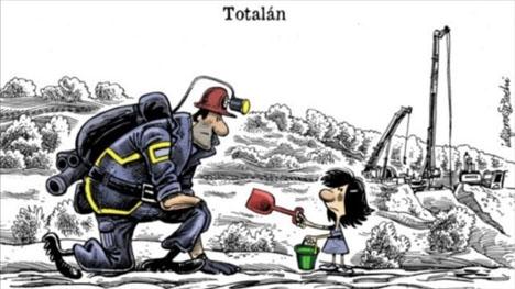 Hyllning av den kände karikatyrtecknaren Idígoras till de gruvarbetare som ska riskera sina liv för att undsätta pojken Julen.