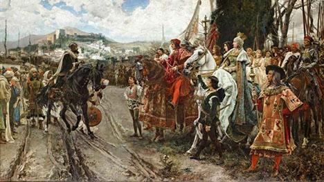 Tavla som skildrar Granadas fall i händerna på de katolska kungarna Ferdinand och Isabel. Precis som termen